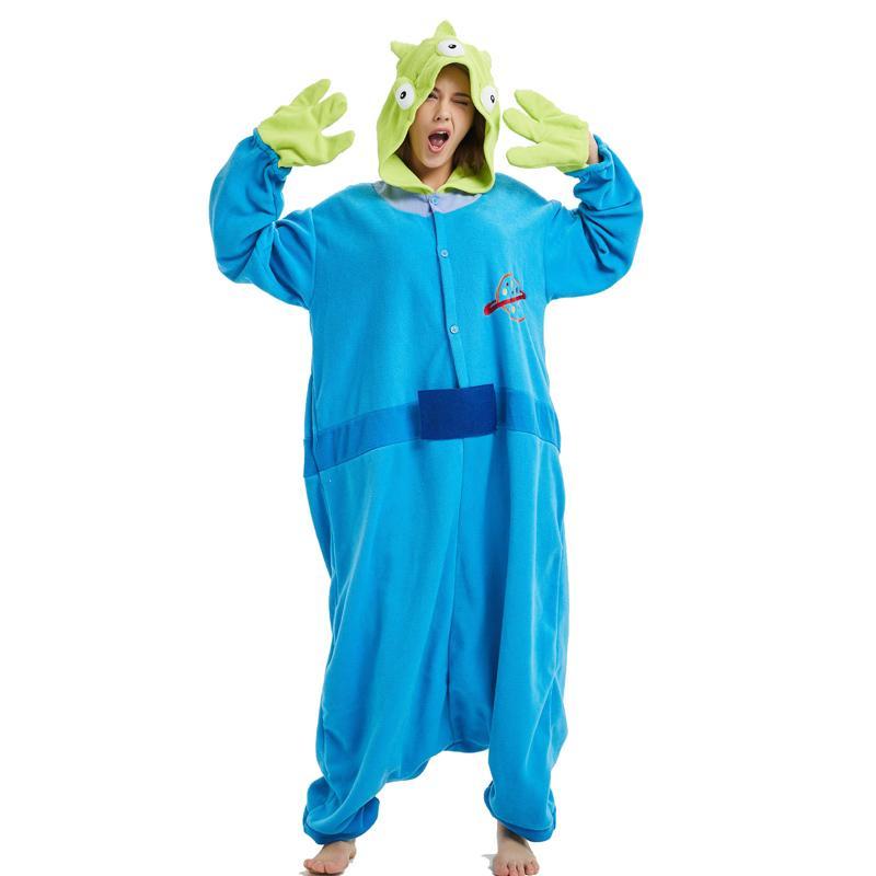 779b5da9 Compre Azul Alien Fleece Kigurumi Cosplay Disfraz De Adulto Pequeño Hombre  Verde Dibujos Animados Onesie Pijama Carnaval De Halloween Masquerade Party  A ...