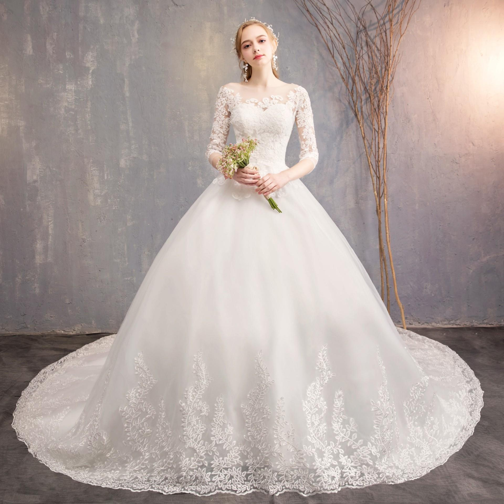 Long Sleeved Wedding Dresses.Wedding Dress New Long Sleeved Bride Princess Dreamlike Tail Shadow Builder Wedding Dress