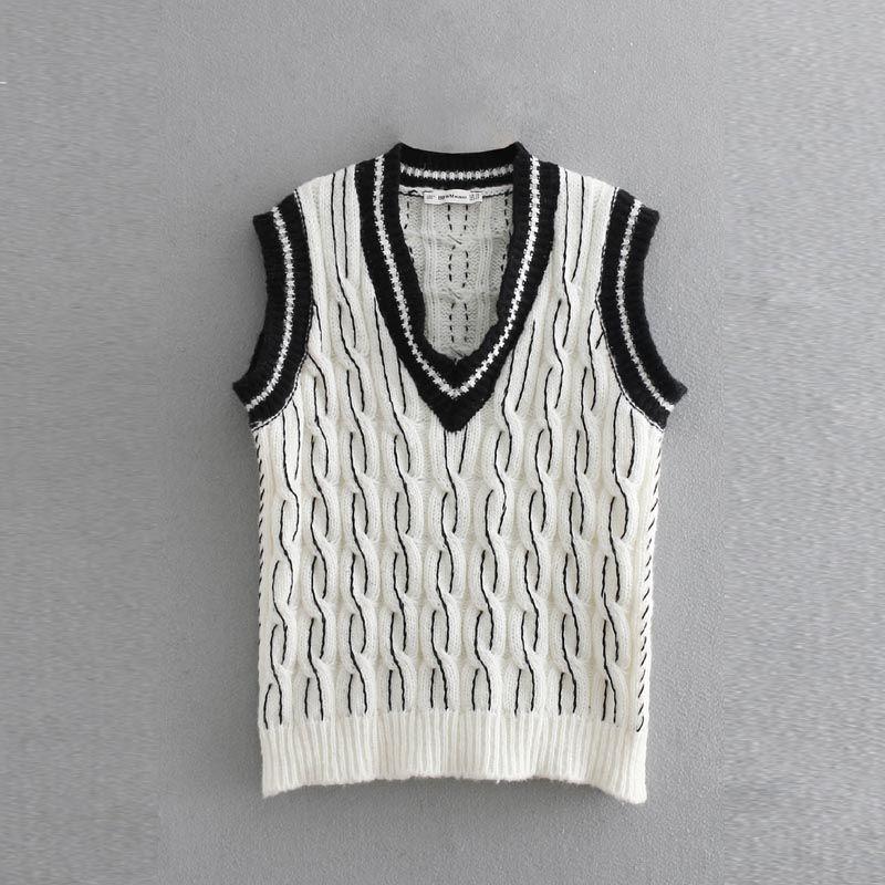 0e53afbbec MY903 Women V Neck Color Black Braid Twist Pattern Sleeveless ...