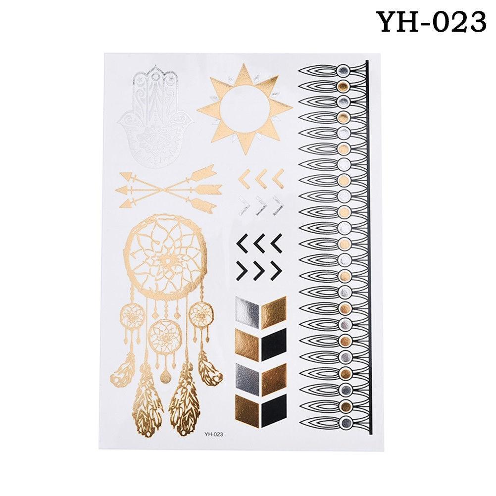Hot Sale New Flash Metallic Waterproof Temporary Tattoo Gold Silver Tatoo Women Henna Flower Taty Design Tattoo Sticker