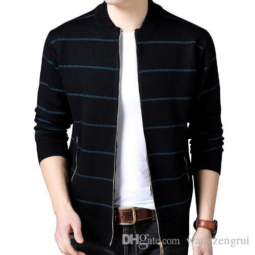 2019 New Fashion Brand Clothing Jacket Men Casual Mandarin Collar Mens Coat  Pockets Zipper Contrast Color Mens Jackets And Coats Outerwear Mens Jackets  ... add91e5fcf67