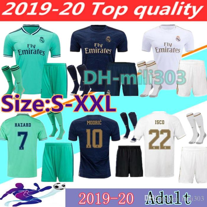 19 20 Real Madrid HAZARD soccer jersey adult kit uniforms 2019 2020 JAMES VINICIUS JR ASENSIO MODRIC MARCELO BALE madrid Football shirt kits