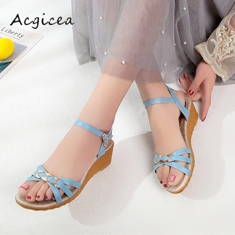 d7ce24133fb623 2019 Dress Summer Sandals Women 2018 New Style Open Toed Wedge Sandals  Female Small Fresh Simple Casual High Heeled Sandals Z058 Cheap Heels Comfort  Shoes ...