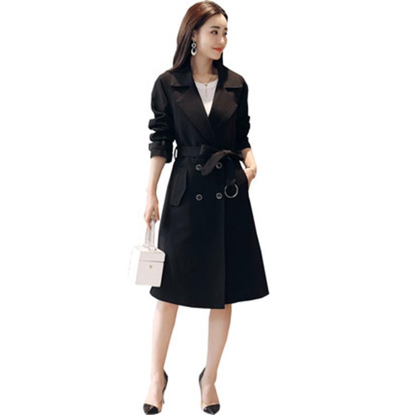 new style bdfdf 4b5b1 Hochwertige Mode Damen lange Trenchcoat Frühling und Herbst neuen Mantel  über dem Knie zweireihige Raglanhülse JQ549