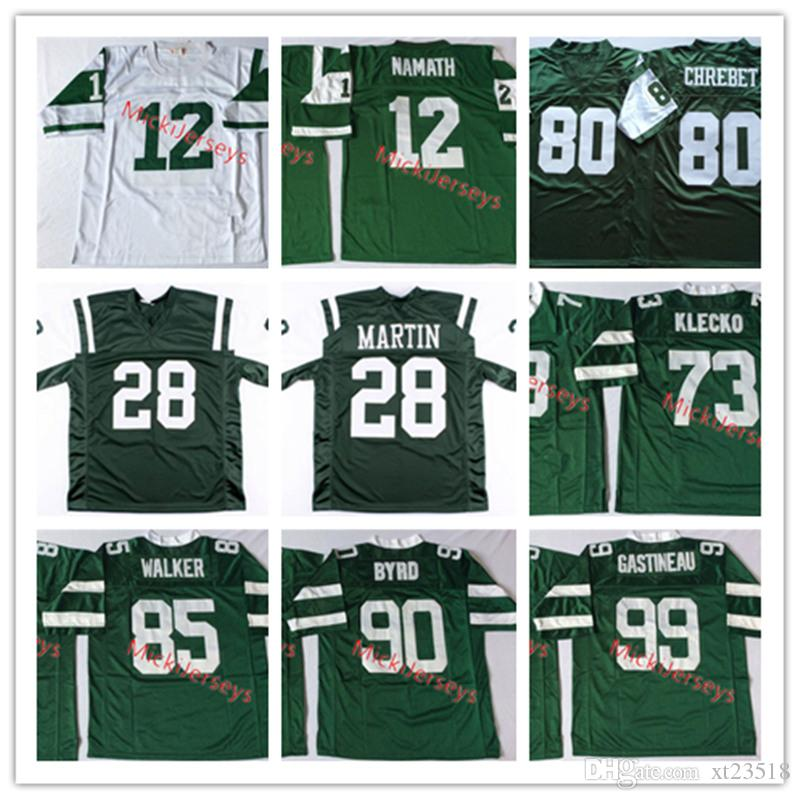 new arrivals fe1cd 62c3b Mens Vintage #12 Joe Namath Jersey 28 Curtis Martin Joe Klecko 80 Wayne  Chrebet Wesley Walker Dennis Byrd 99 Mark Gastineau Football Jersey