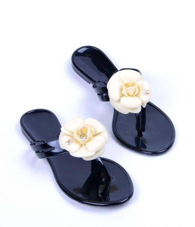 be42c837 New Summer Chanel women's floral slippers female's flip flops flowers  slippers pvc sandals Camellia Jelly Shoes beach shoes