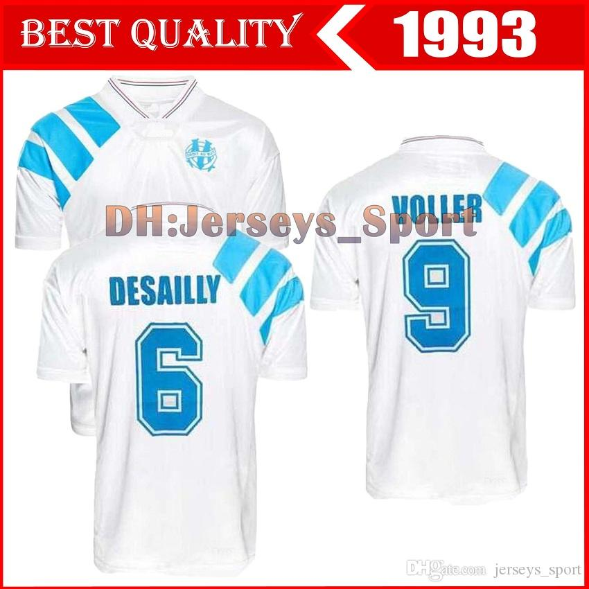 1993 Olympique Marseille Retro Commemorate Football Shirt DESCHAMPS PAPIN BOLI DESAILLY Soccer Jersey VOLLER Marseille Football Jersey