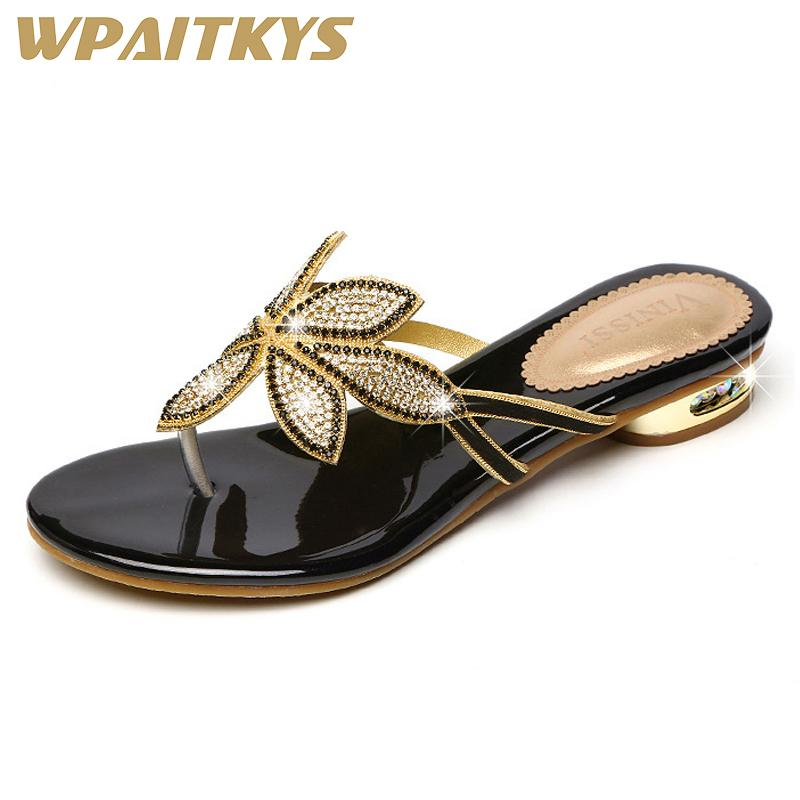 8408d422f92 2018 Elegant Golden Black Two Colors Available Women Low Heel Rhinestone  Sandals Crystal Leather Casual Shoes Women Wedding Black Wedges Platform  Shoes From ...