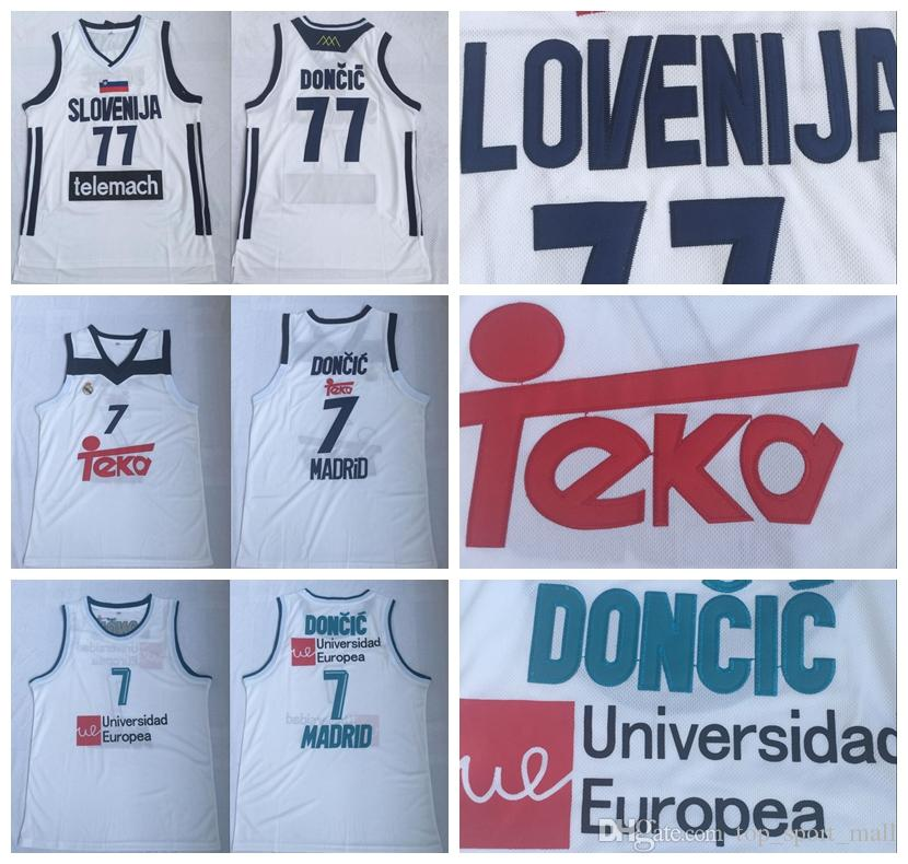36d8923d1b39 2019 Real Madrid 77 Luka Doncic Jerseys Basketball Uniform 7 Team Club MVP  Euroleague Spain Europe Slovenija White Color Men Stitched Good From ...