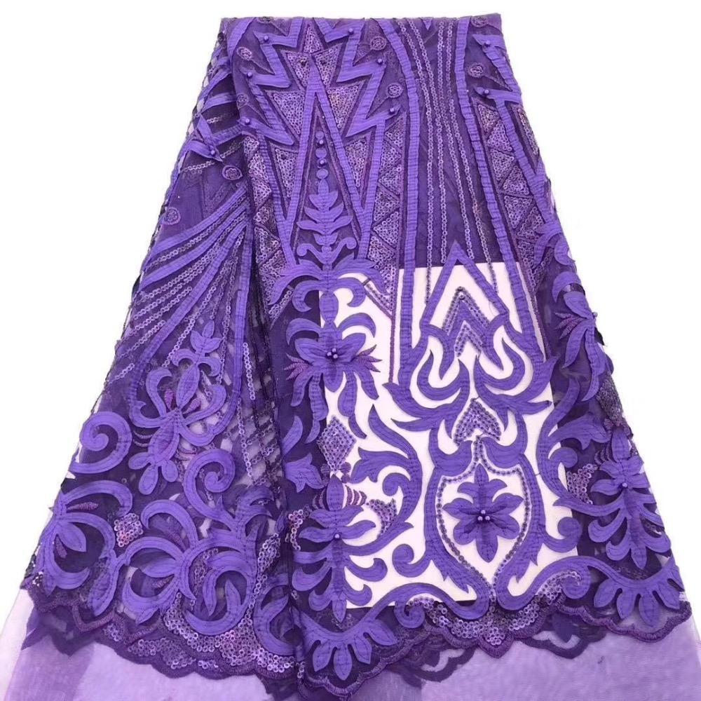 Lila afrikanisches Spitzegewebe, hochwertige afrikanische Schnur Spitze 2019 nigerianischen 3d Blume Spitze Guipure Stickerei Hochzeit Partykleid