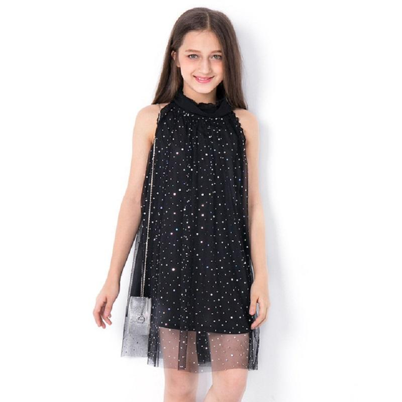 702416141 Kids Dresses for Girls Summer Dress Sequined Teen Casual Clothes Black  Princess Party Dress Fashion for Teenage Children