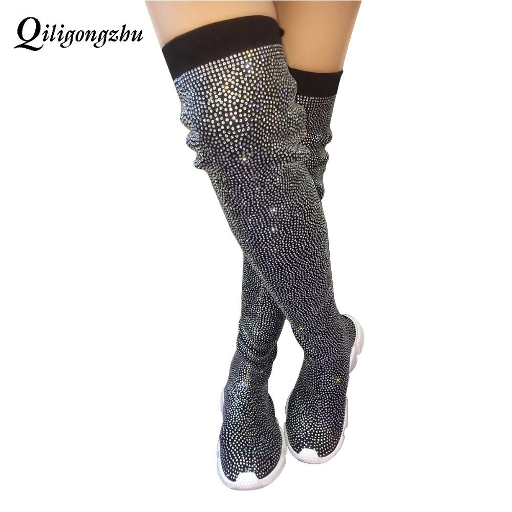 1d3474a5790 Crystals Knitting Sock Boots Sport Flat Black Handmade Fall Winter Small  Crystals All Over Sock Sneakers Thigh High Botas Knee High Boots Riding  Boots From ...