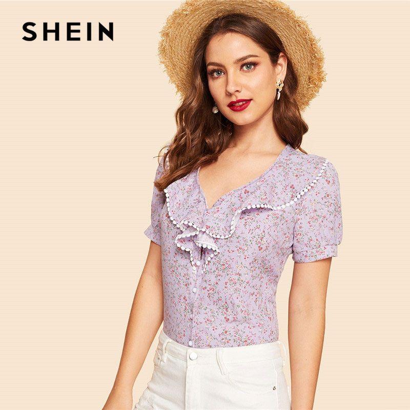 127fcfc37b15b 2019 SHEIN Lace Trim V Neck Botanical Floral Print Ruffle Women Tops ...