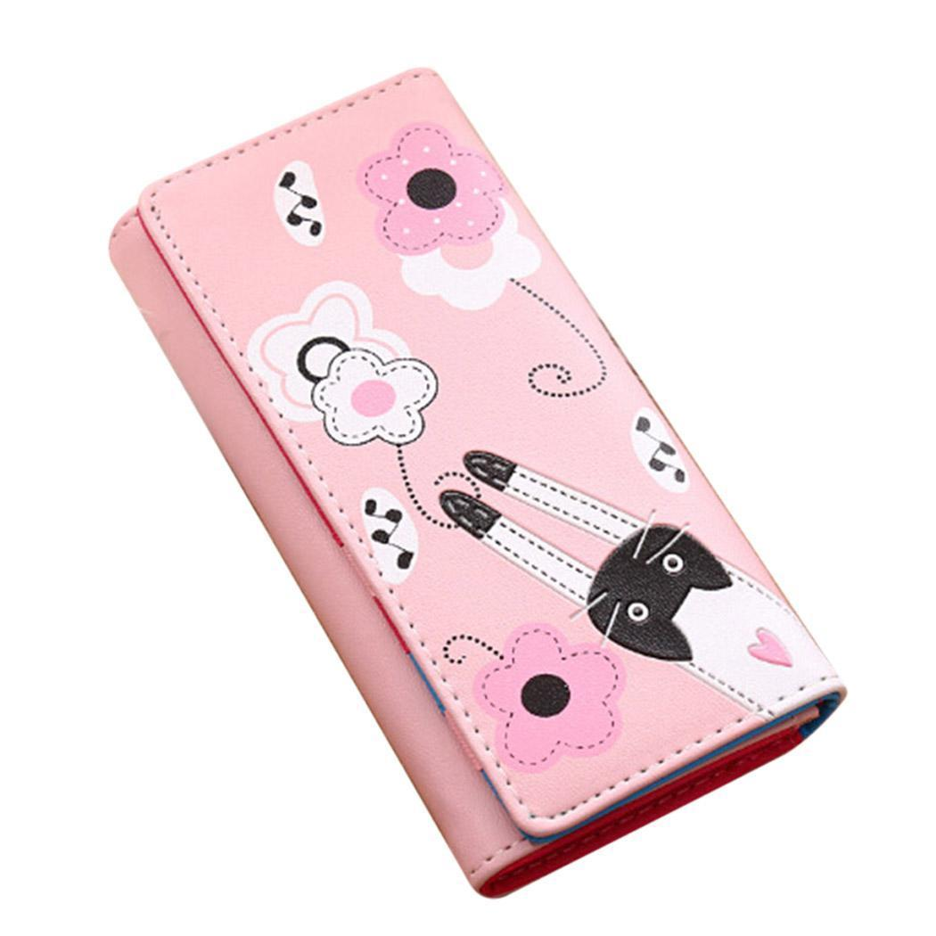 Coin Fashion Square Pattern Button Lady Purse Girls Polyester Women Cartoon Cat Bag Casual Money None Wallet