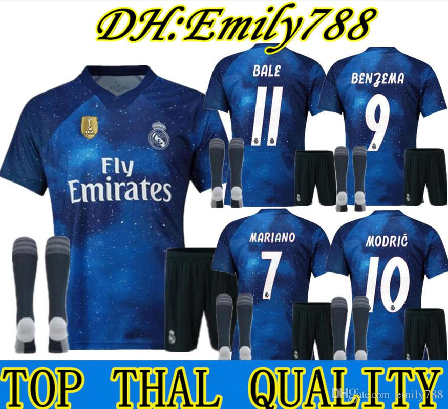 new concept 1b93a b40b9 ADULT KIT Socks 18 19 real madrid EA Sports digital INSANE SOCCER JERSEYS  2018 2019 MARCELO BENZEMA Special fourth Outstanding MEN football
