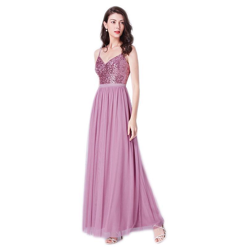 0f04286a423 Cheap Sequin Bridesmaid Dresses Chiffon Blush Pink Prom Dresses Bridesmaid  Maxi Skirt Evening Party Gowns 2019 Destination Bridesmaid Dresses  Destination ...