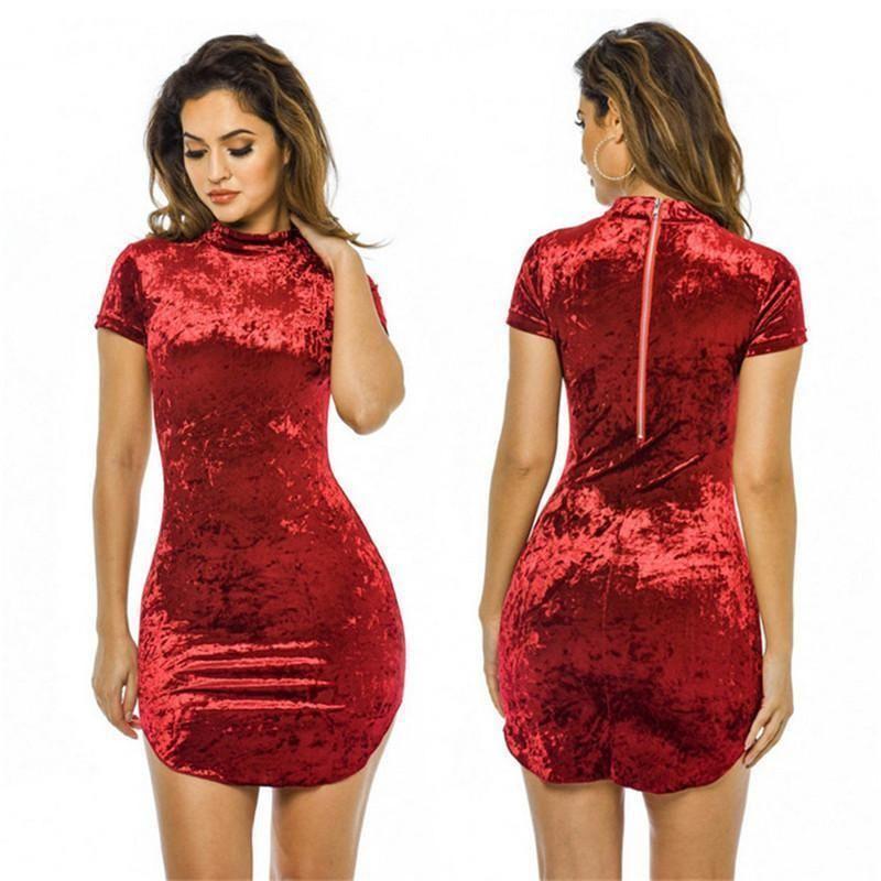 d0e0c25863d49 Sexy Velvet Women Dress Elegant Short Sleeve Zipper 2019 New Fashion Casual  Slim Bodycon Sheath Women Dress Solid Vestidos