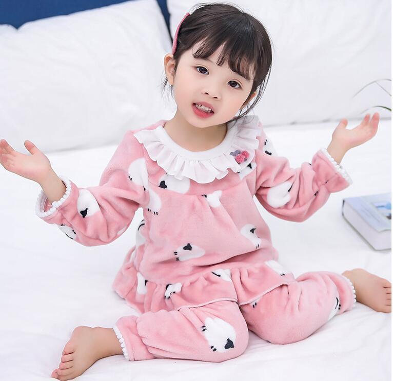 fab884459 Lace Lotus Leaf Coral Winter Children Fleece Pajamas Warm Flannel ...
