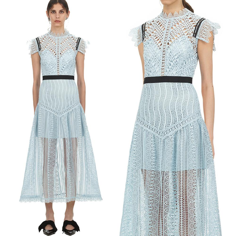 4fcb3da0c4 2019 Luxury Series# Prom Dress 2019 New Look Light Blue Fashion Hallow Out  Formal Elegant Lace Women Maxi Party Dinner Dresses From Clothes_zone, ...