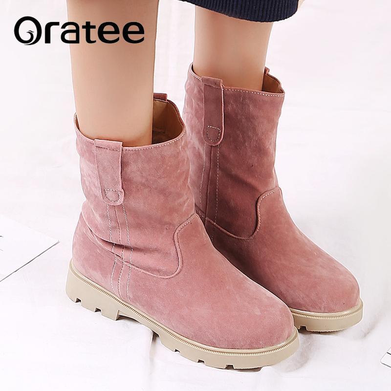 Flock Mujer Compre Zapatos Dulce Botas Planos Nuevo Invierno De nC4rwq640
