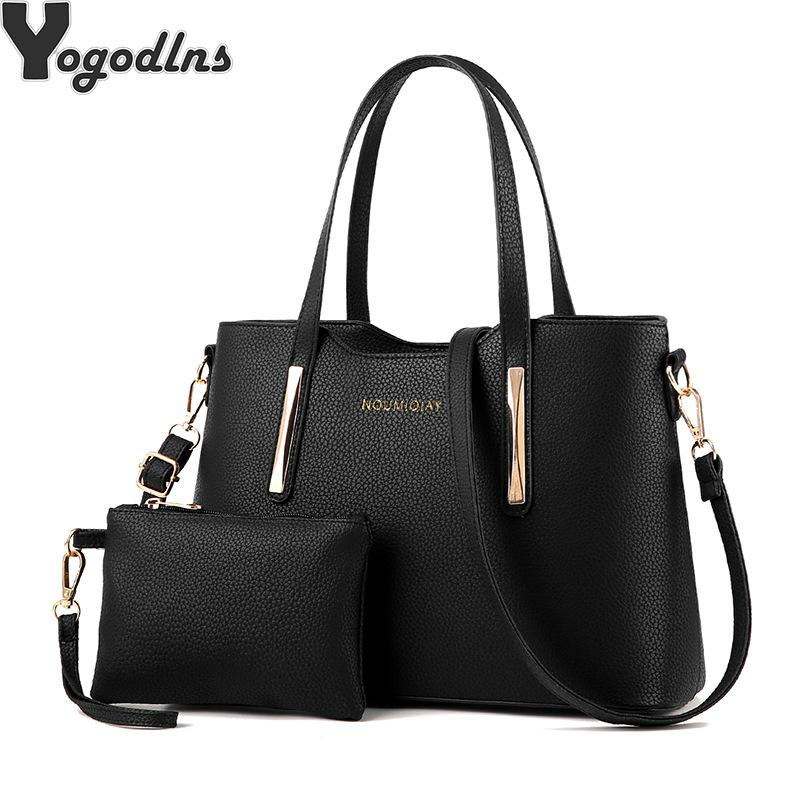 53c1fda4bf9e 2018 Handbags Fashion Shoulder Tote Bag Two Piece Messenger Bag Retro  Shoulder Mother Solid Pu Leather Name Brand Purses Overnight Bags From  Creeative