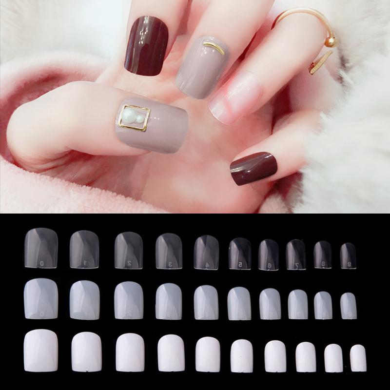 600pcs Fake Nails Short Square Head Faux Ongles Nail Art Tips French Style  Full Cover Artificial Acrylic False Nails Manicure