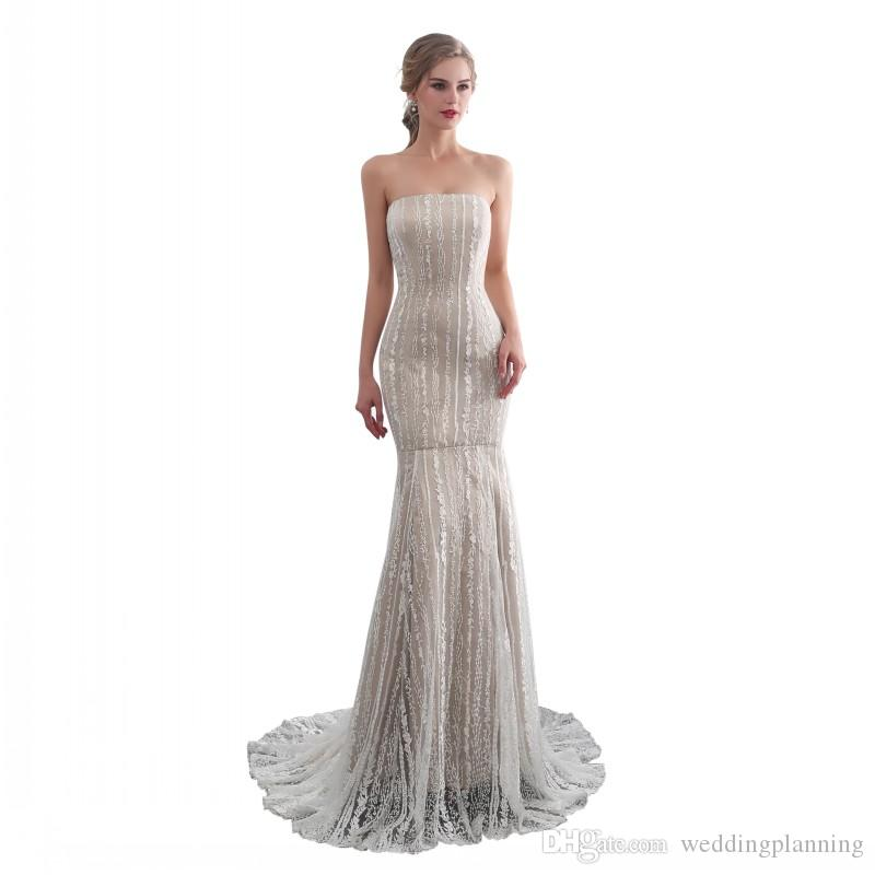 622bc580b6 New Arrival Real Image Mermaid Strapless Formal Evening Gowns Champagne Lace  And Satin Material High Quality Lace Up Back Prom Dress Evening Dresses For  ...