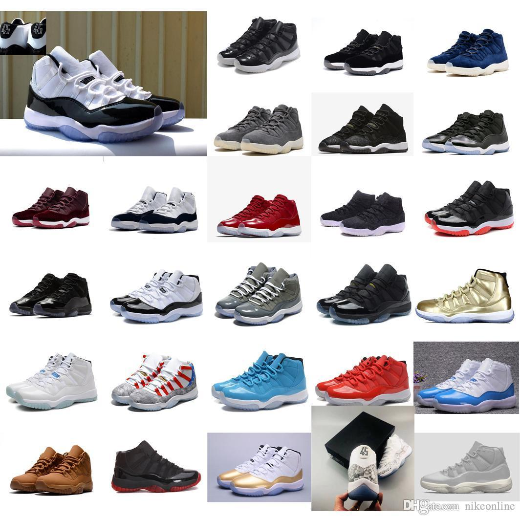 db93273664d0d2 2019 Cheap New Men Jumpman 11 XI Basketball Shoes 11s Concord 45 Black Blue  Prom Night Gold Red J11 Air Flights Sneakers Boots For Sale With Box From  ...