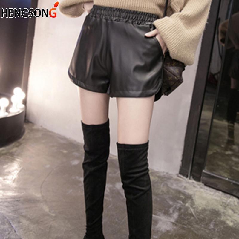 Gepäck & Taschen Hohe Qualität Pu Leder Shorts Frauen Schwarze Kurze Hosen Mit Tasche Lose Beiläufige Elastische Taille Shorts Plus Größe