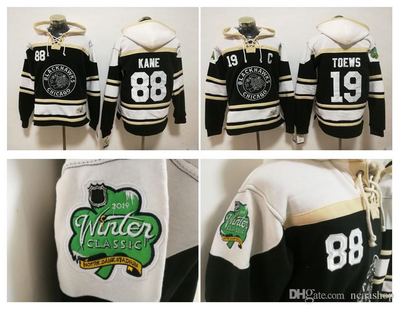 49622b15c 2019 2019 Winter Classic NHL Chicago Blackhawks  19 Jonathan Toews 88 Patrick  Kane Hockey Hoodie Black Pullover Sweatshirts Winter Jacket From Ncaashop