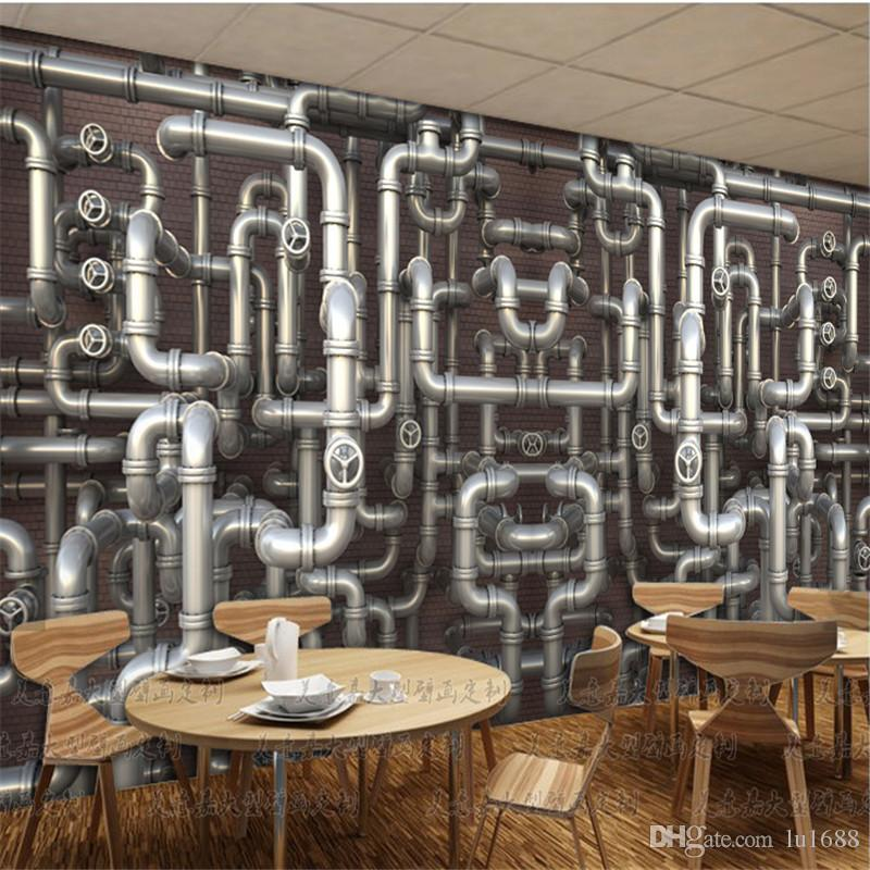 Custom Papel De Parede Industrial Wind Pipe Loft Brick Wall Personalized 3D  Wallpaper Casual Cafe Bar Ktv Large Mural Wall Paper Wall Decor