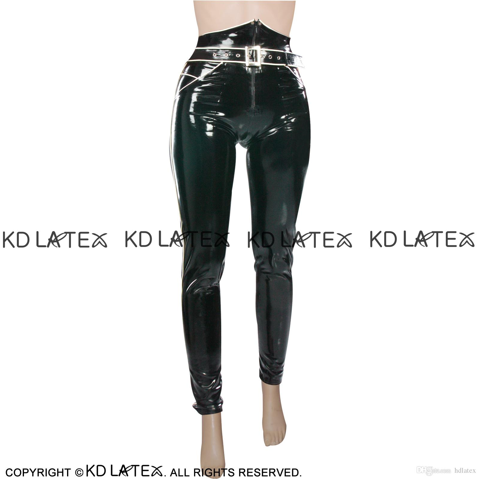 Black With White Sexy Latex Leggings With Zipper Front And Pockets Rubber Pants Jeans Trousers Bottoms 0025