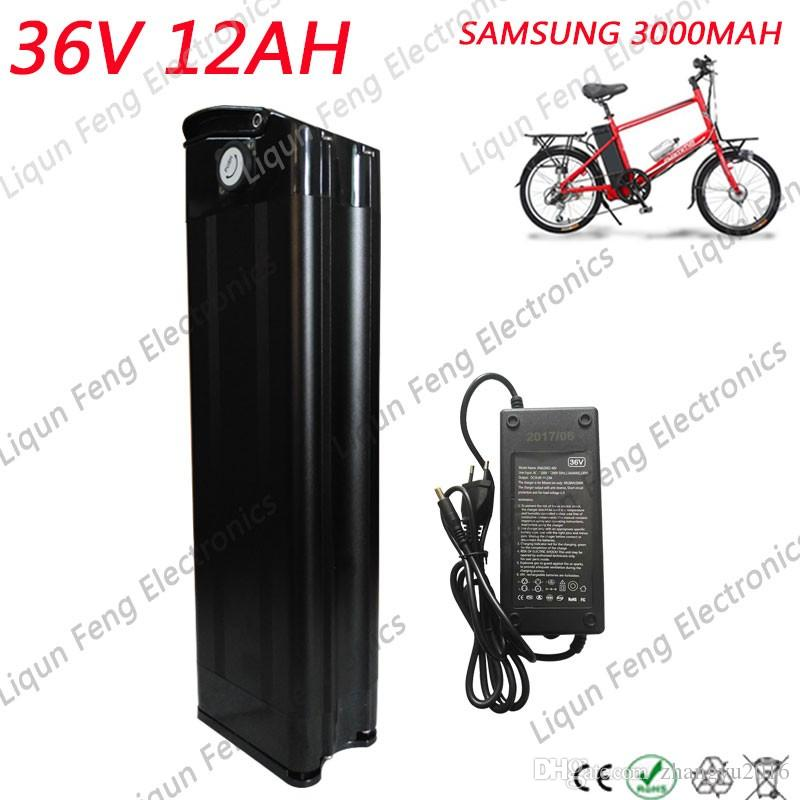 US EU No Tax Silver fish 36V 12AH Electric Bike battery 500W lithium battery use SAMSUNG cell with Aluminum case +42V 2A charger