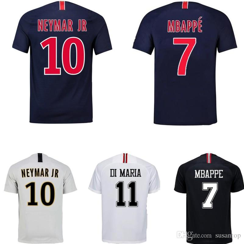 separation shoes d6cd3 9e45d 18 19 PSG kids soccer jersey MBAPPE NEYMAR JR CAVANI DI MARIA home away 3rd  black white jerseys men woman football shirt Thailand quality