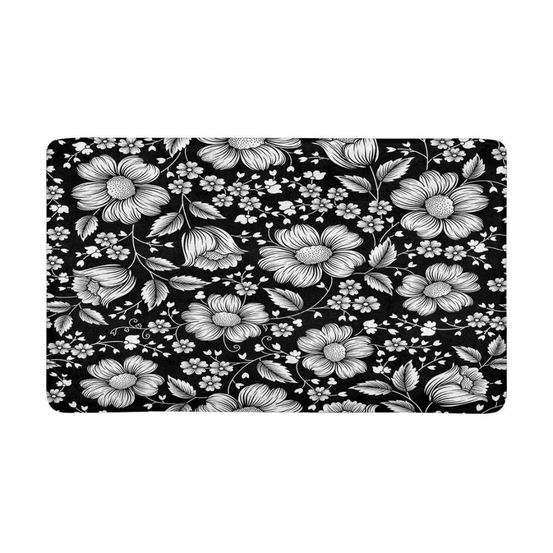 Acheter Motif Floral Noir Et Blanc Sur Le Paillasson Interieur