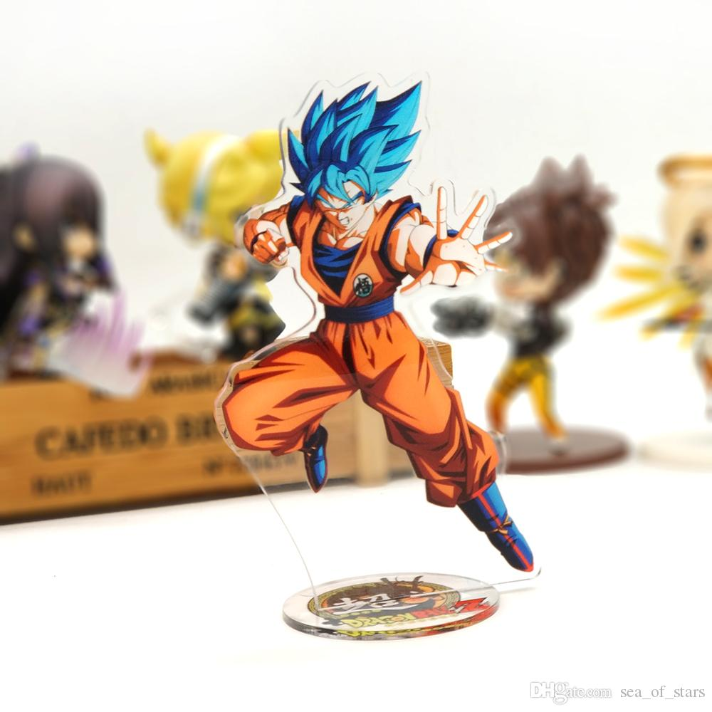 BUY 4 FREE 1 DragonBall Super Goku God Super Saiyan blue acrylic stand figure model double-side holder cake topper anime toy table display