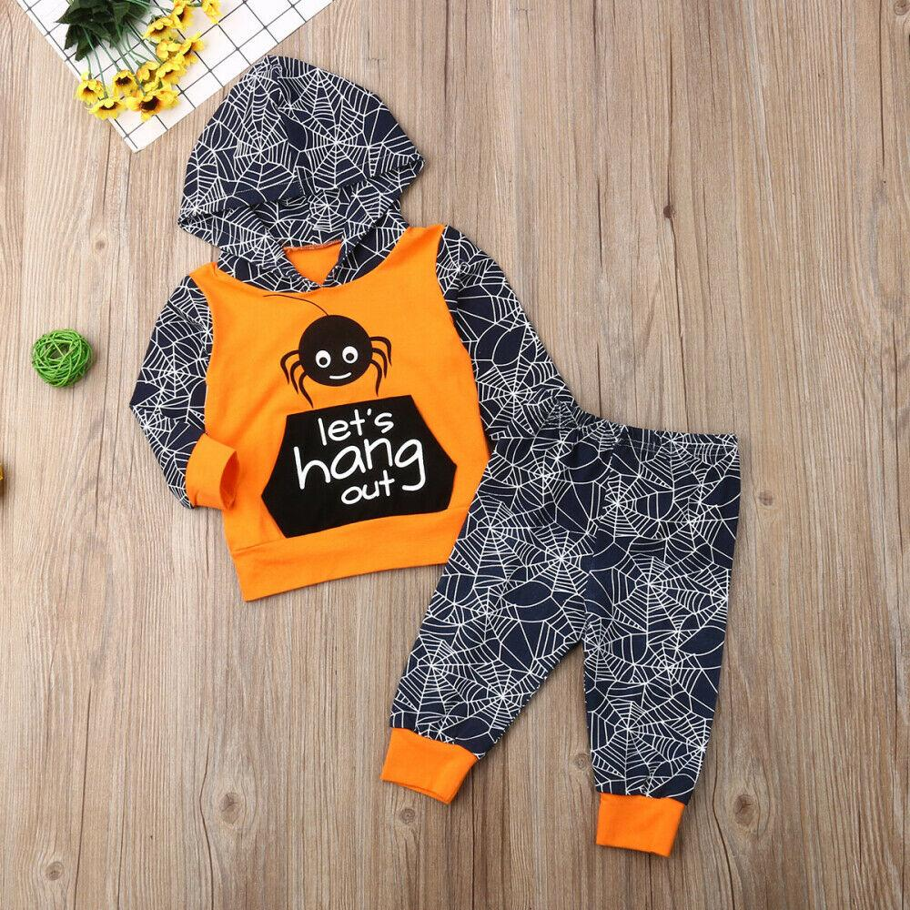 2PCS Toddler Kid Baby Boy Girl Halloween Hooded Long Sleeve Top Pants Outfit Set