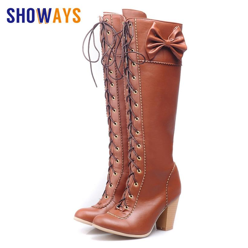 4a08c57301a Sweet Women Long Martin Boots PU Leather Round Toe 7cm High Block Heel Knee  High Lace-up Boots Lolita Retro Riding Bowtie