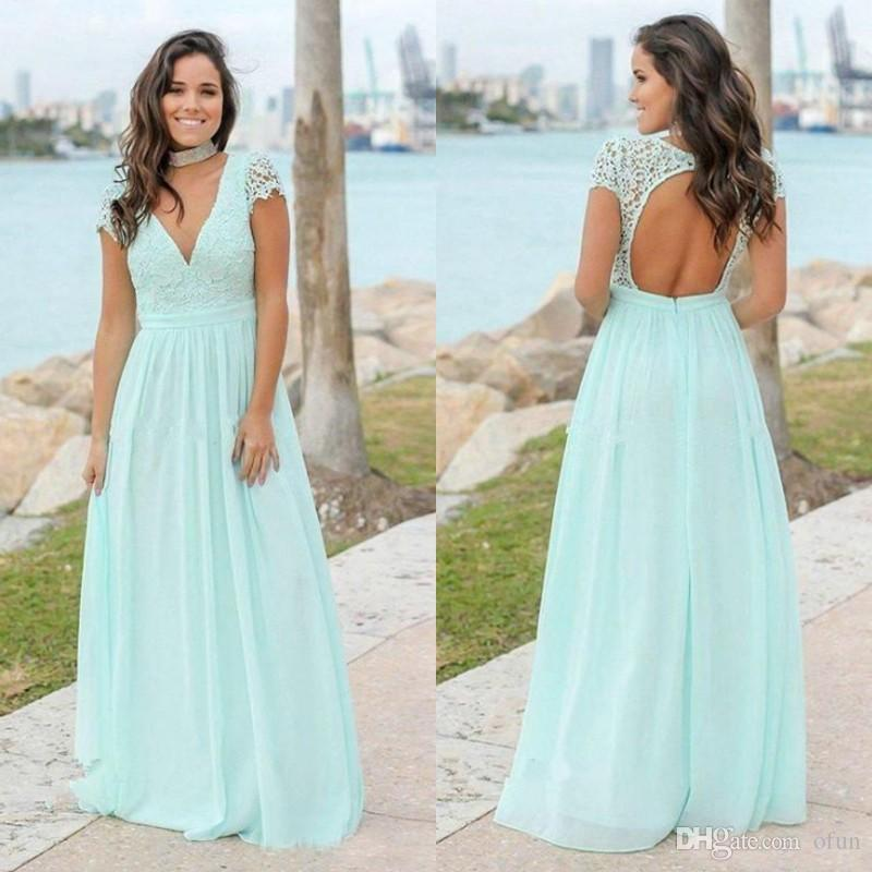 1c843aaf1b38 Elegant Mint Green Chiffon Bridesmaid Dresses Bohemian A Line Cap Sleeves V  Neck Backless Long Maid Of Honor Dress Orange Bridesmaid Dresses Uk Pale  Green ...