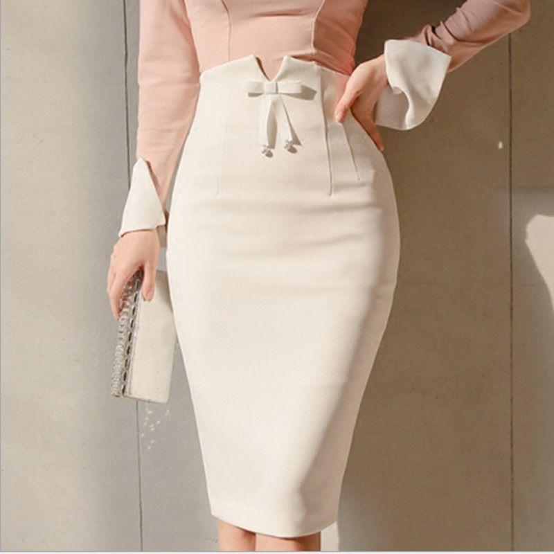 b144af2db6 2019 New White Women Midi Pencil Skirt 2019 Spring High Waist Office Bodycon  Midi Skirts Zipper Split Knee Length Skirt From Yujiu, $20.8 | DHgate.Com