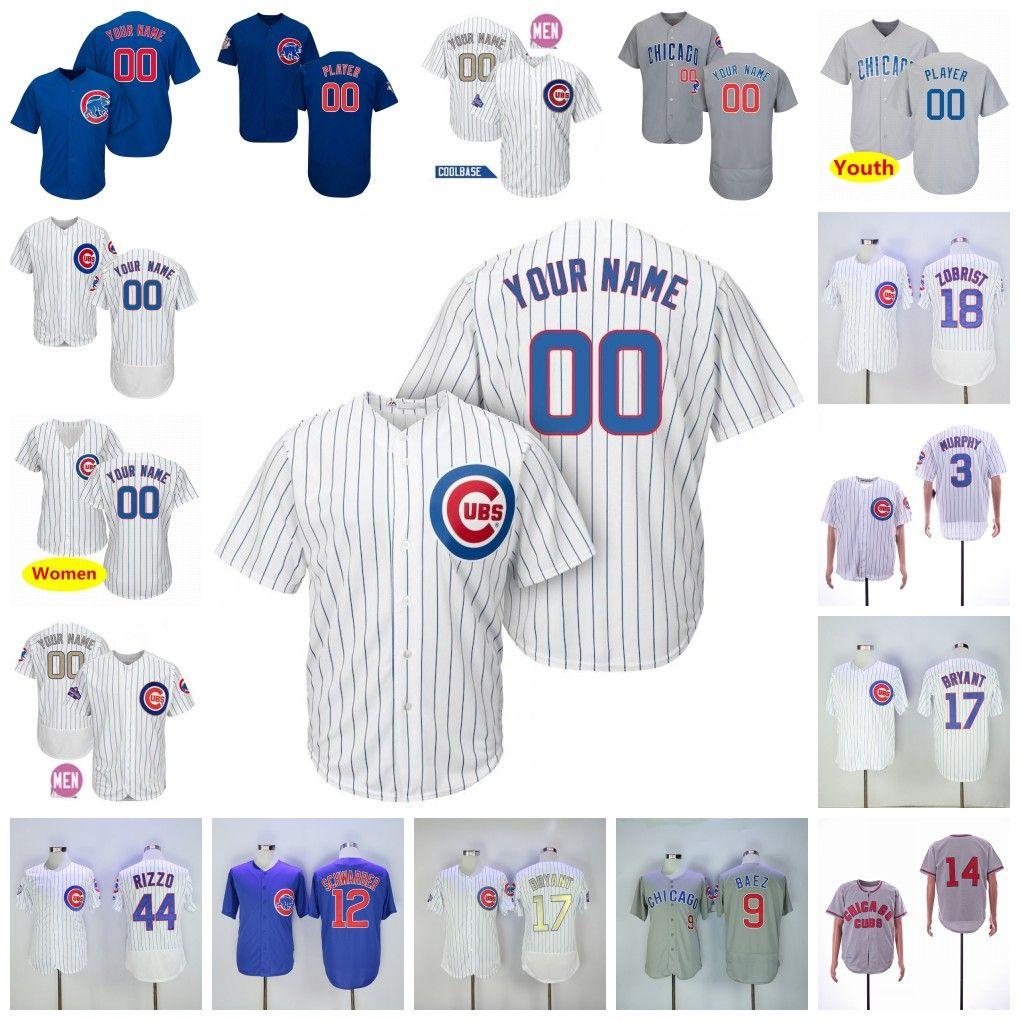 timeless design b5b7b 78fec Custom 2019 Cubs Jersey Chicago #44 Anthony Rizzo 51 Duane Underwood Jr. 62  Jose Quintana Blank no name no number Jersey Men Women Youth
