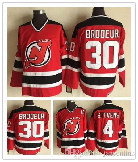finest selection 89267 12c44 Vintage #30 Martin Brodeur Jersey New Jersey Devils 4 Scott Stevens Red  100% Stitched CCM Vintage Classic Hockey Jerseys