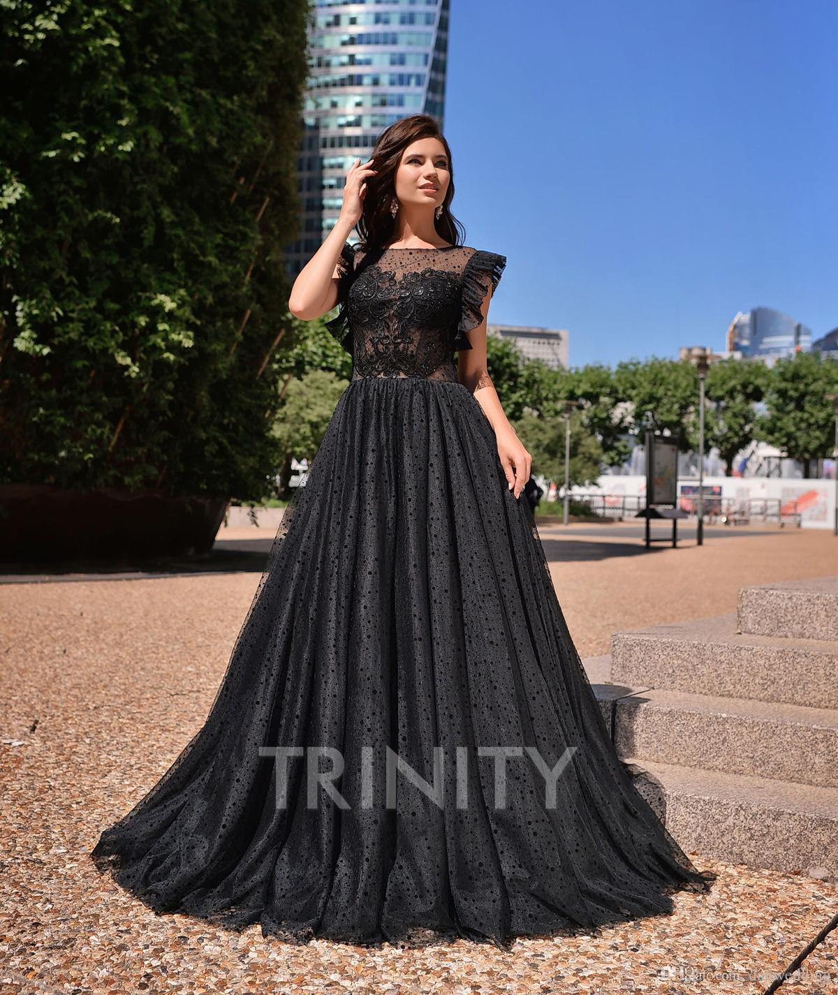 9bffea856a6 Charming Black Tulle Scoop Applique Evening Dresses Special Occasion Party  Dresses Prom Dresses Homecoming Custom Size 2 18 KF1221276 Grecian Style  Evening ...