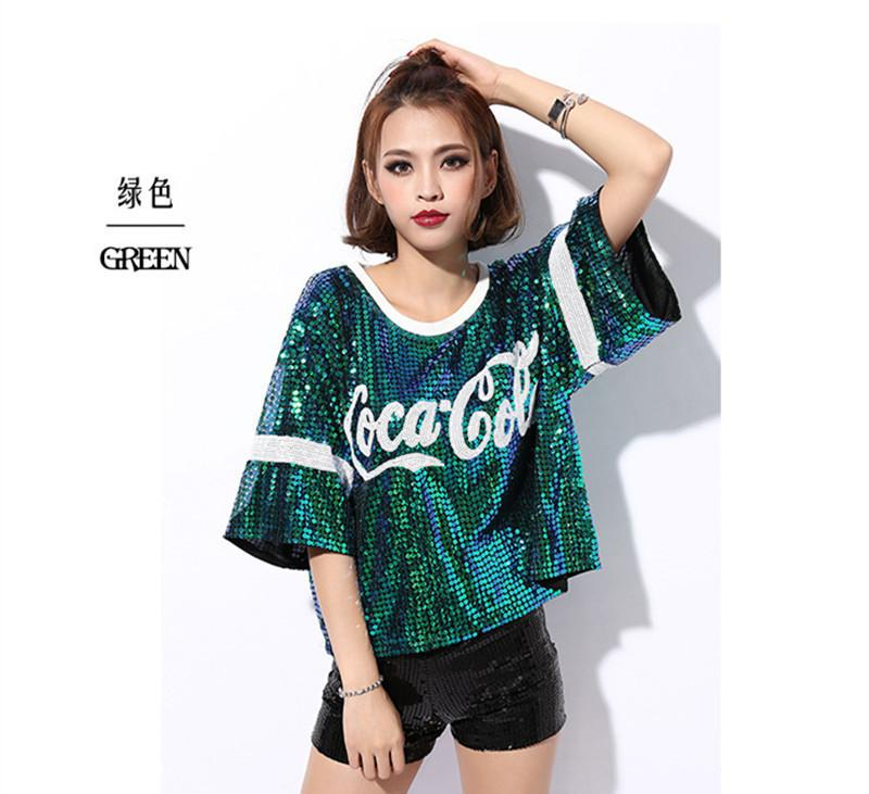 15f94b13a 2018 New Female Sexy Nightclub Ds Costumes Jazz Dance Wear Tops Singer  Perform T Shirt Hip Hop Clothing Sequined Tops J190424 T Tee Shirts T Shirt  Shirts ...