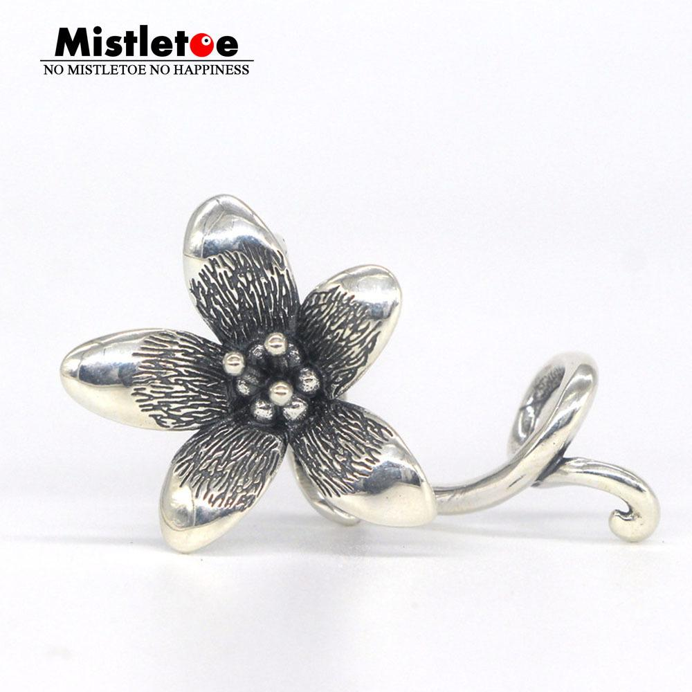 Mistletoe Jewelry Genuine 925 Sterling Silver Not Original Flower Troll Anemone Pendant Fit European Bracelet Without Bead C19041201