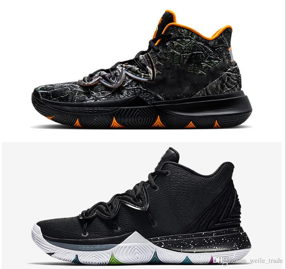 e50e80bdd31624 Kyrie 5 Black Magic Taco PE Basketball Shoes Halloween Confetti Triple Black  Power Is Female Green Lucky Charms Pack Sport Sneakers With Box Kevin  Durant ...