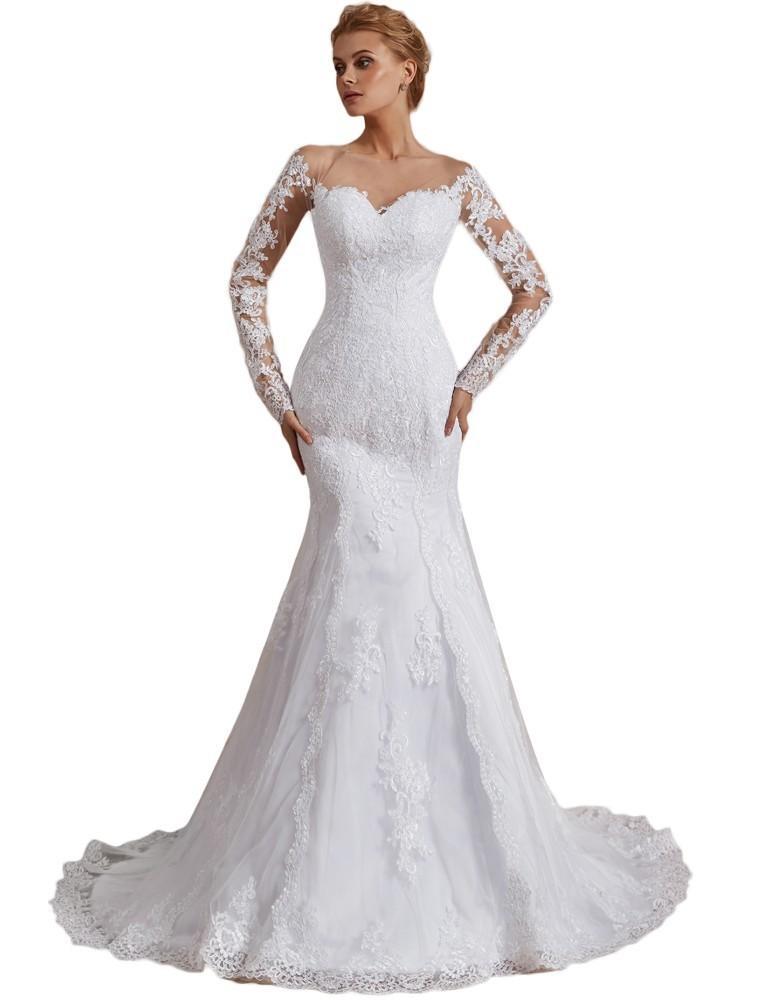 9140be6010c61 Vivian's Bridal 2019 Fashion Illusion Mesh Mermaid Wedding Dress ...