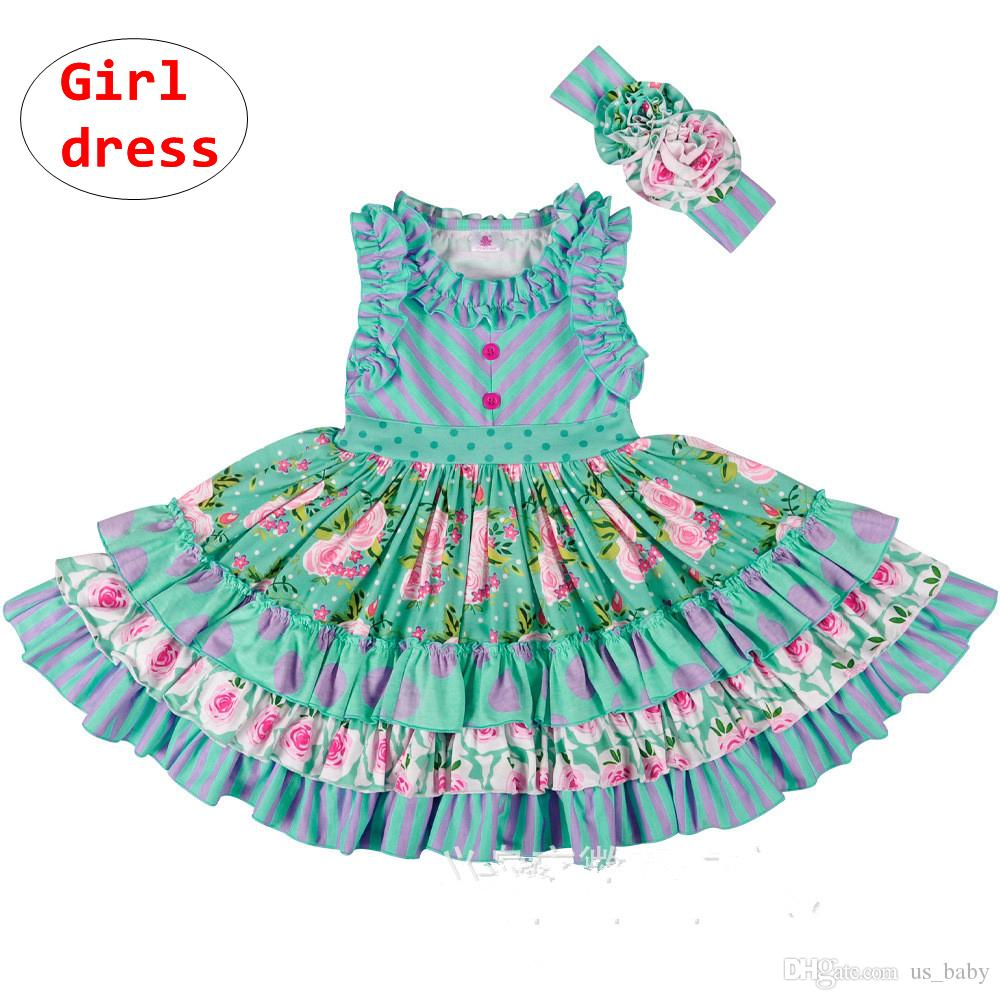 7daab00025a 2019 Princess Girl Boutique Green Dress Kids Pleated Rose Flower Ruffle  Dress Girl Summer Sleeveless Clothes With Button Size70 160 From Us baby