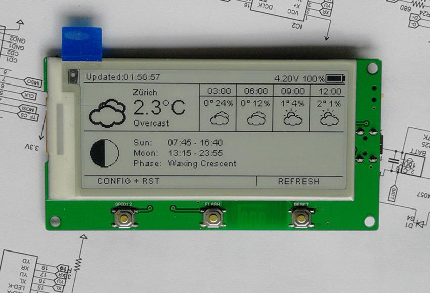 AZSMZ EPAPER 2 9 display Esp8266 WiFi EINK YahooApi open source github  (espaper weatherstation)