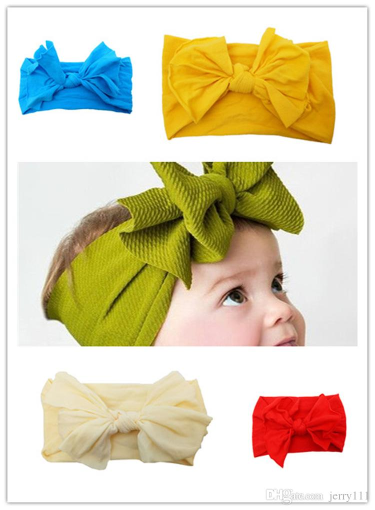 ad2703fce Baby Boy Girl Lace Nylon Designer Headband Fashion Soft Candy Color Bohemia  Bow Boy Girl Infant Hair Accessories Headband FJ106 Bow Hair Accessories  Pearl ...